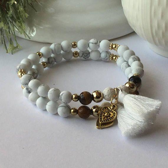 Bracelet amitiés best-frends howlite mat et pierre de lave #fashion #style #art #amitié #frendship #love #gifts #shopping #bracelet #oeildetigre #howlite #or #coeur #heart