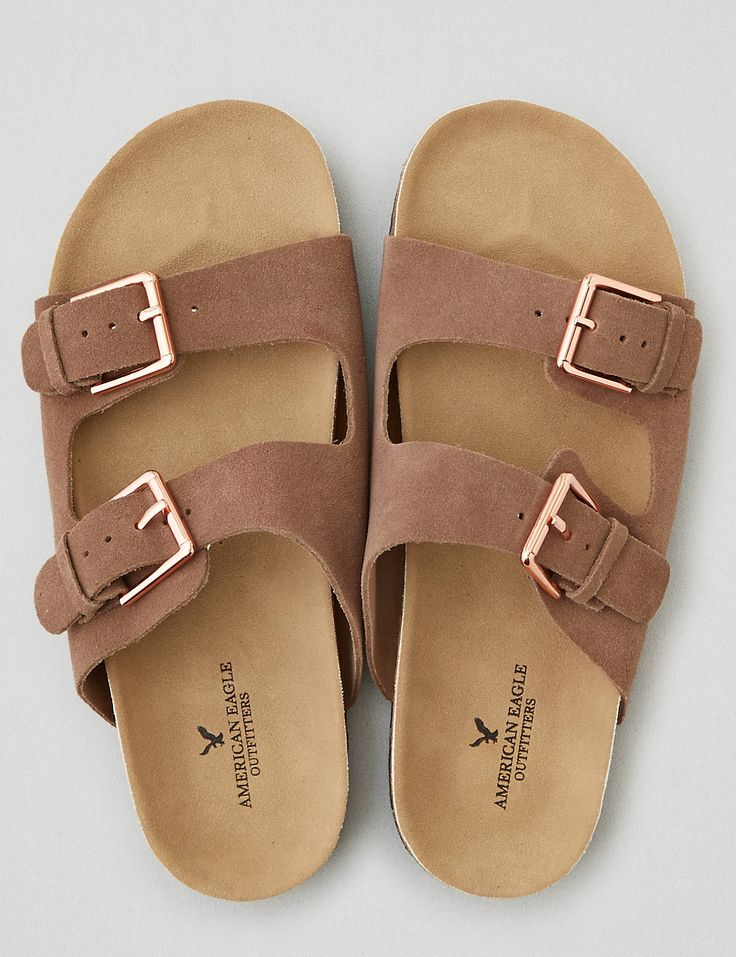 Heat up your look with double buckle sandals. These go with everything.