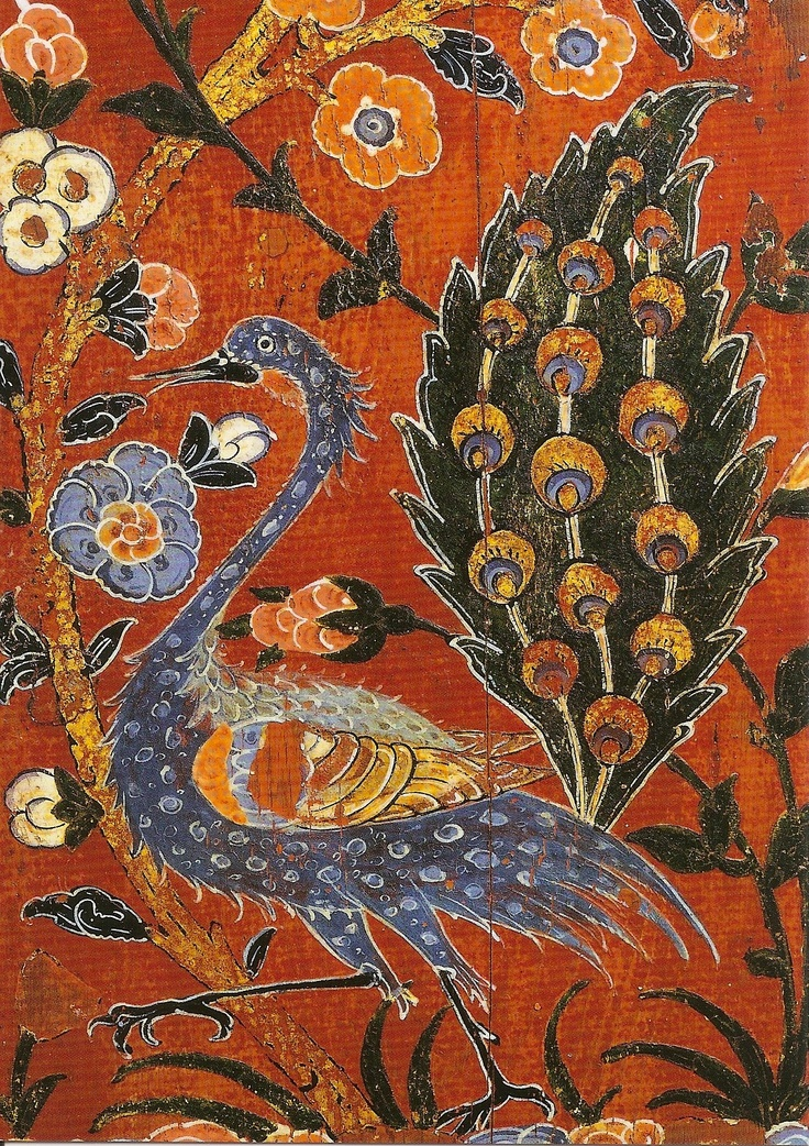 Border with peacock flower branches.  Detail of the wall cladding of the house of the as-Butrus Samsar in Aleppo.    Syria, Aleppo, 1600-1601 AD    Wood with paint / Inv -. No. i.2862.  Photo: George Meiser Neider.     State Museums of Berlin - Museum of Islamic Art.