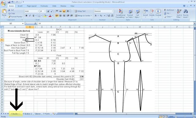 Free Pattern Drafting Calculator....and my commentary on drafting patterns for dummies;-)