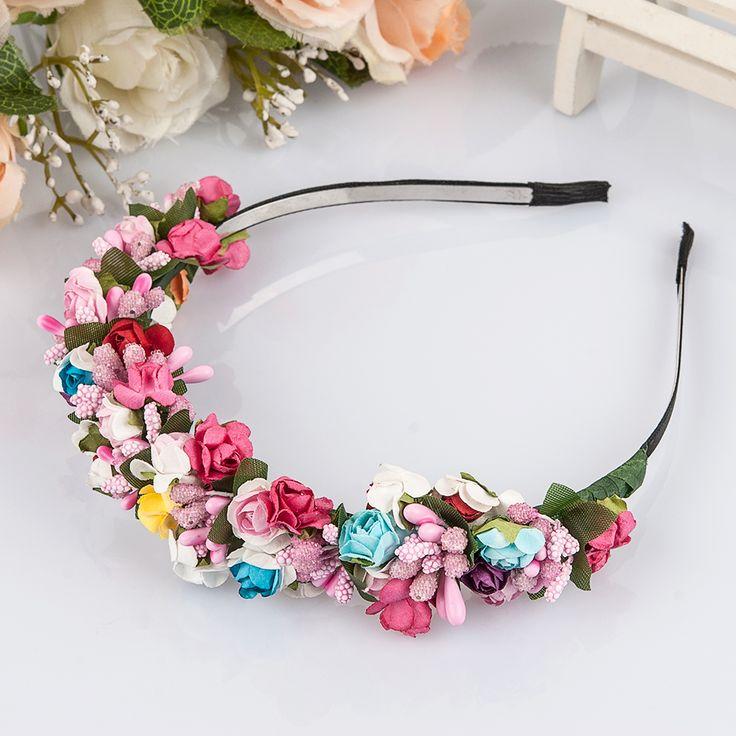 ดอกไม้พวงมาลัยดอกไม้เจ้าสาวจัดงานแต่งงานแบบคาดศีรษะH Airbandพรหมพรรคเทศกาลประดับเจ้าหญิงดอกไม้พวงหรีดหูฟัง