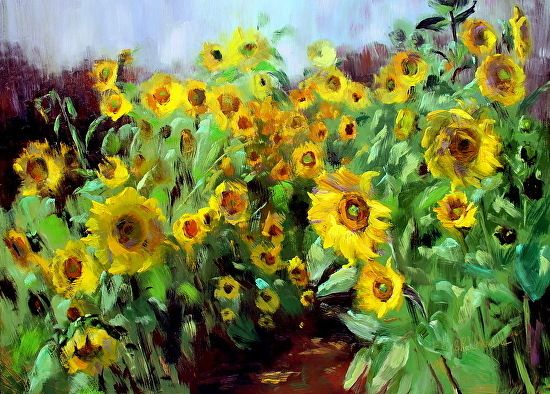 September 25, 2014 Today I Painted A Field Of Sunflowers With Oils On Copper! Demo!   Plein Aire in Maine