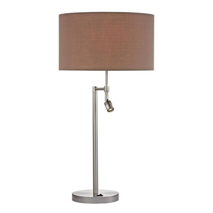 Dimond Port Elizabeth Satin Nickle Lamp With LED Lamp, Brown