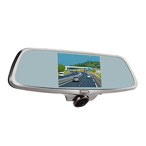 WonVon Dual Lens Rearview Mirror Dash Camera Car DVR Car Camera 360 Degree Panoramic Front Lens | Full HD 1080P Video | 5 Inch IPS Touch Screen w/ Backup Rear Camera | Best Dashboard Camera