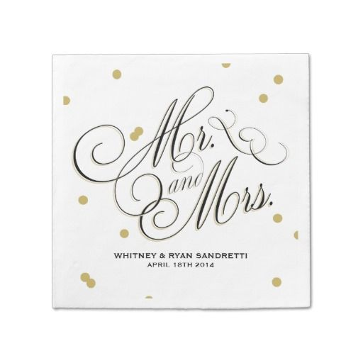 Festive and stylish; this modern chic napkin sparkles with Gold dots and an airy script font in Black and Gold that evokes pure romance. Matching Invitation and Save-the-Date cards are also available. Envelopments envelopes, envelope liners and Pocketfold® enclosures are available as an add-on (on right) through zazzle.com