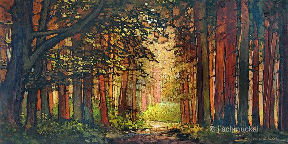 Gorgeous painting reminiscent of the Arts and Crafts Era, by Jan Schmuckal. Giclee Print, Into the Woods Again, $65 on Etsy.