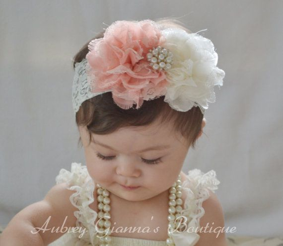 Shabby chic Headband, Peach, Ivory baby Headband, Newborn headband, baby hair bow, Newborn photo prop, hair accessories. Infant Headbands