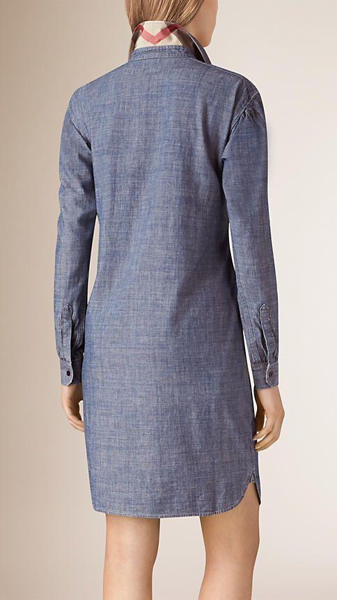 Light indigo Pintuck Detail Denim Tunic Dress - Image 2