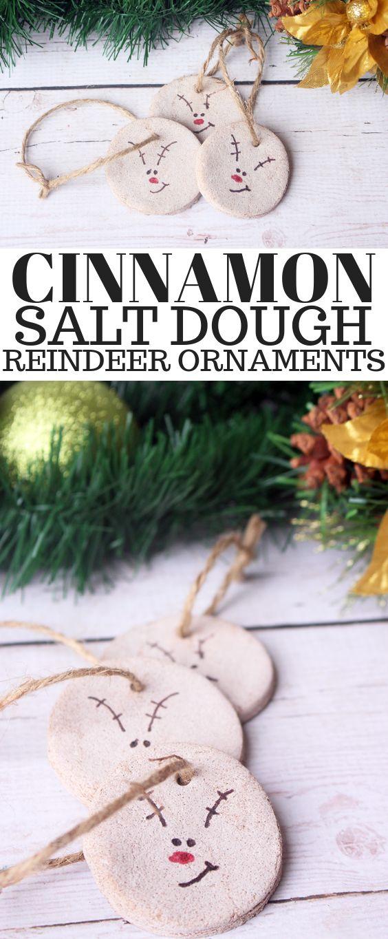 Cute and Easy DIY Cinnamon Salt Dough Reindeer Ornaments