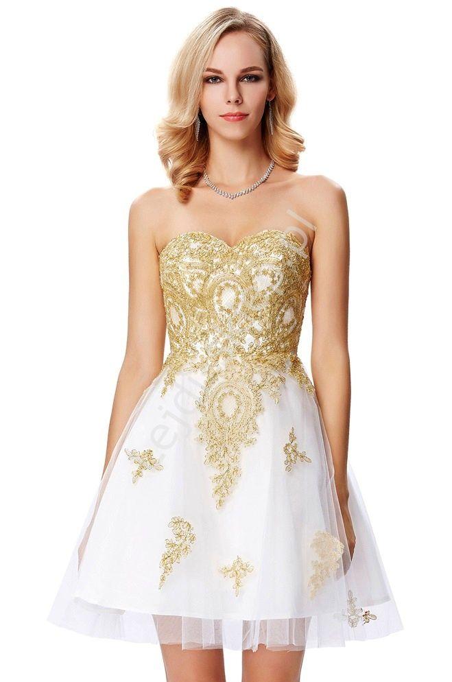 White dress with golden guipure lace. Prom dress, evening dress. Biała sukienka ze złotymi haftami   sukienka na studniówkę, ślub