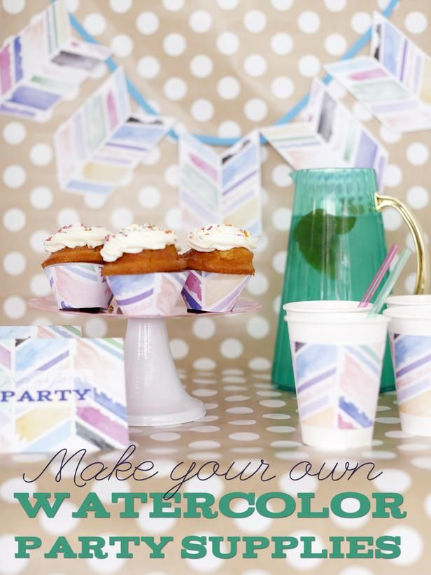HGTV Crafternoon: Custom Watercolor Party Supplies (http://blog.hgtv.com/design/2014/06/24/hgtv-crafternoon-custom-watercolor-party-supplies/?soc=pinterest): Watercolor Parties, Custom Watercolor, Blog Design, Design Blog