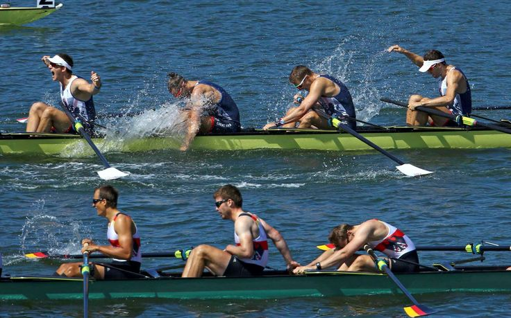 Britain rows to gold:    Team Britain members, top, celebrate their gold-medal finish as Team Germany reacts to finishing second in the Men's Eight Final A at Lagoa Stadium on Aug. 13.