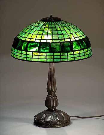 16IN Turtleback Tiffany Lamp and Bronze Lamp Base Mockturtle No. 587