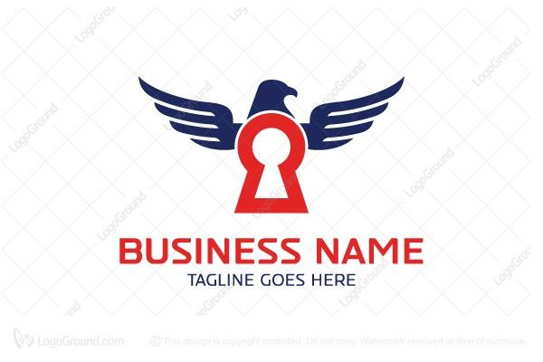 Logo for sale: Eagle Security Logo Unique combination of keyhole and eagle to convey strength and security. hawk falcon raptor secured secure personal self storage protection certificate firewall guard guarding safeguard cyber logo logos
