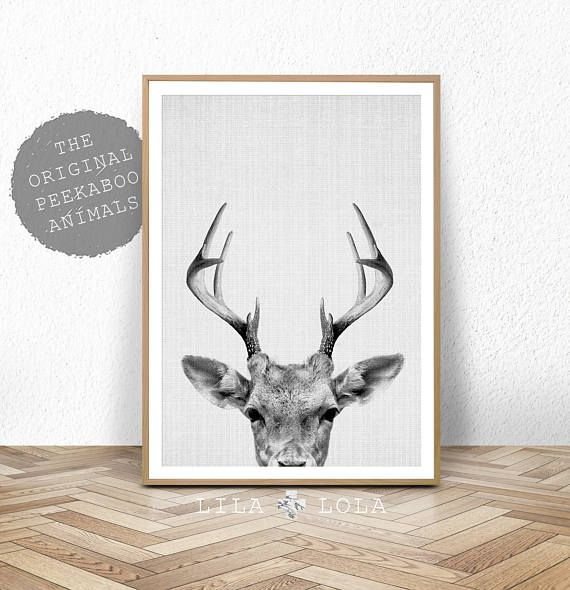 Herten Print herten gewei Woodlands Decor wildernis kunst