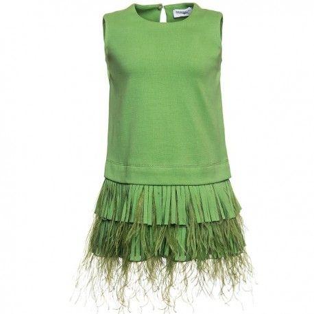 ABITO FRANGE MONNALISA Abito per bambina di Monnalisa in tessuto punto milano colore verde mela con frange applicate nella parte bassa, senza maniche e bottoncino sul retro. Abito di Monnalisa particolare e femminile, per le bimbe e le mamme che amano osare. #monnalisa #abbigliamento #abiti #vestiti #bimba #bambina #ragazza #fashion #moda #shopping #negozionline #ecommerce #eshop #negozi #girl #child #children