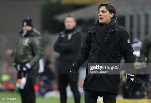 MILAN, ITALY - JANUARY 08: AC Milan coach Vincenzo Montella... #montella: MILAN, ITALY - JANUARY 08: AC Milan coach Vincenzo… #montella