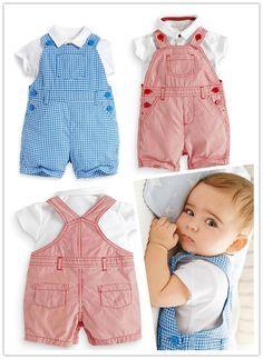 2016 novo bebê meninos verão definir conjunto de roupas meninas terno (T-shirt + Macacão) 2 pcs roupas romper do bebê Macacões Infantis