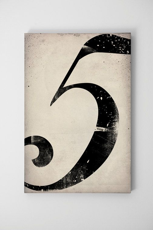 No. 5 Vintage-Style Gas Station Number Graphic Art pigment print on canvas 20x30x1.5 wall art: