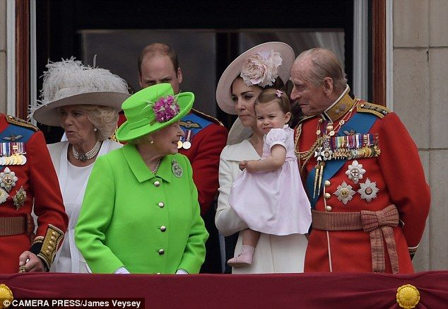 Generations of lasting love: At the age of 95, Prince Philip is still by the Queen's side. Pictured, with the Duchess of Cornwall, the Duke and Duchess of Cambridge, and their great-granddaughter Princess Charlotte