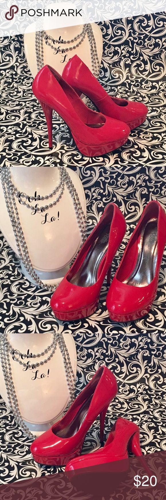 "Charlotte Russe Red Platform heels Charlotte Russe Red Platform heels, size 7. 5-1/2"" heel, 1"" platform Charlotte Russe Shoes Heels"