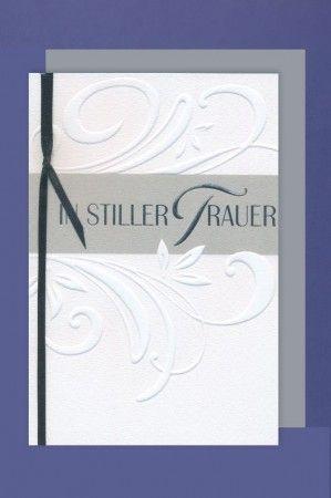 Trauer Grußkarte mit Umschlag In stiller Trauer Prägung mit Schleife 11x17cm
