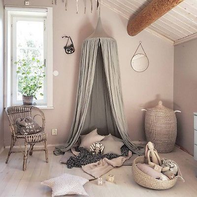 Grey Canopy Bed Netting Mosquito Bedding Net Baby Kids Reading Tents Cotton NEW