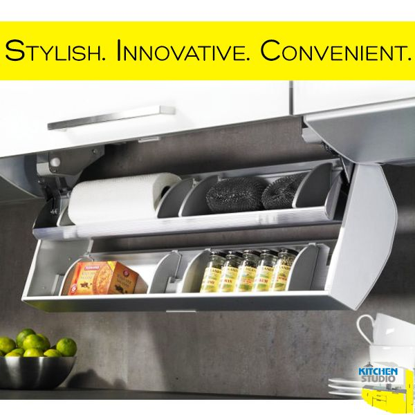 #Hettich Cosario: A blend of function and design, tucked under a wall unit. Creating an extra storage space for smaller items in your #kitchen.