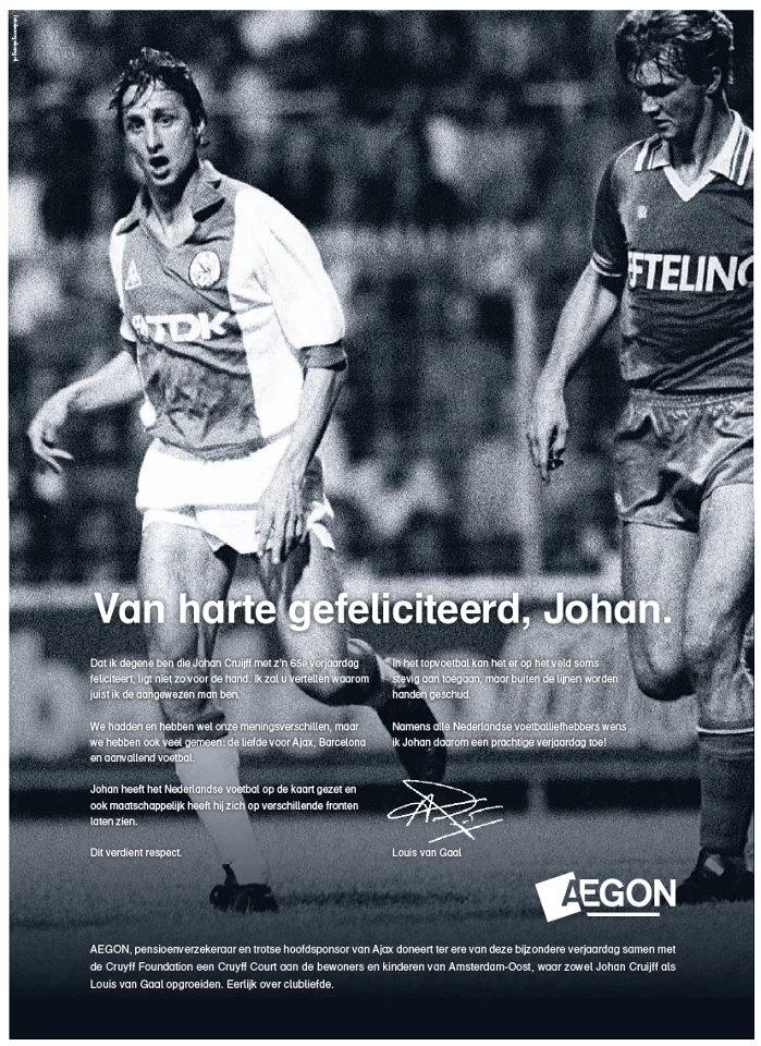 #newsjacking Johan Cruijff turns 65 years old (by Aegon)