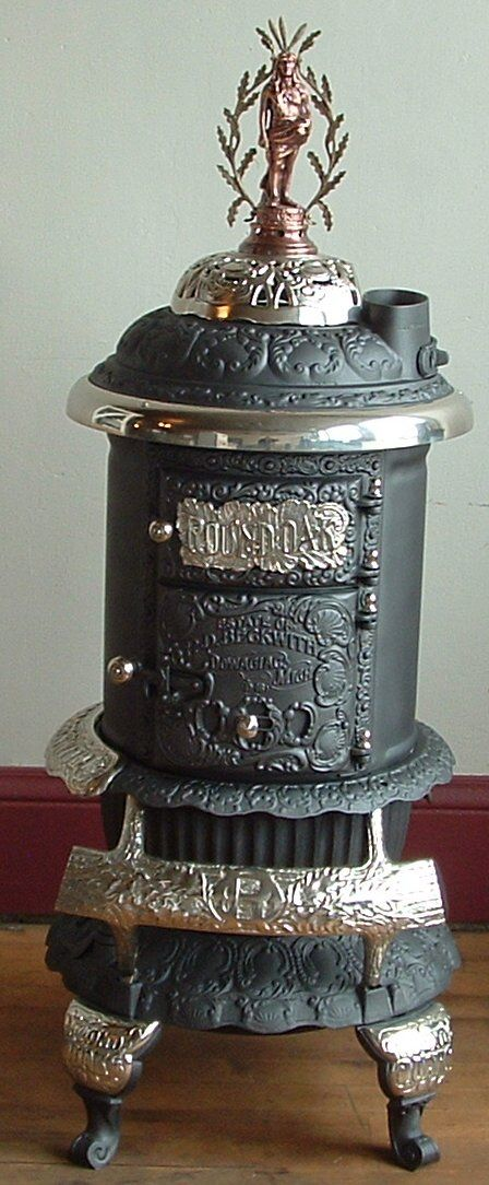 Antique parlor stove 1880s woodstove cast iron the old for Queen pellet