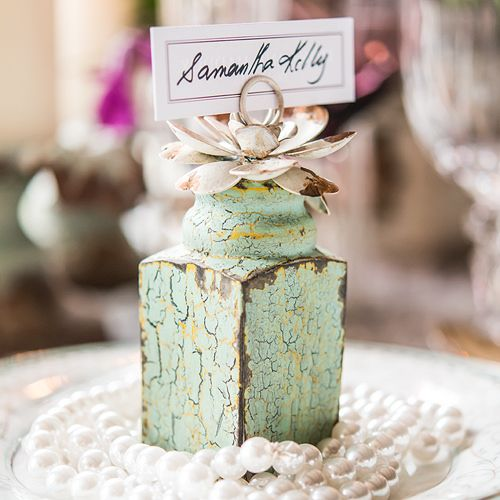 Shabby Chic Stationery/Photo Holder with Floral Detail (Wedding Star 9609) | Buy at Wedding Favors Unlimited (https://www.weddingfavorsunlimited.com/vintage_inspired_stationery_or_photo_holder_with_floral_detail_se.html).