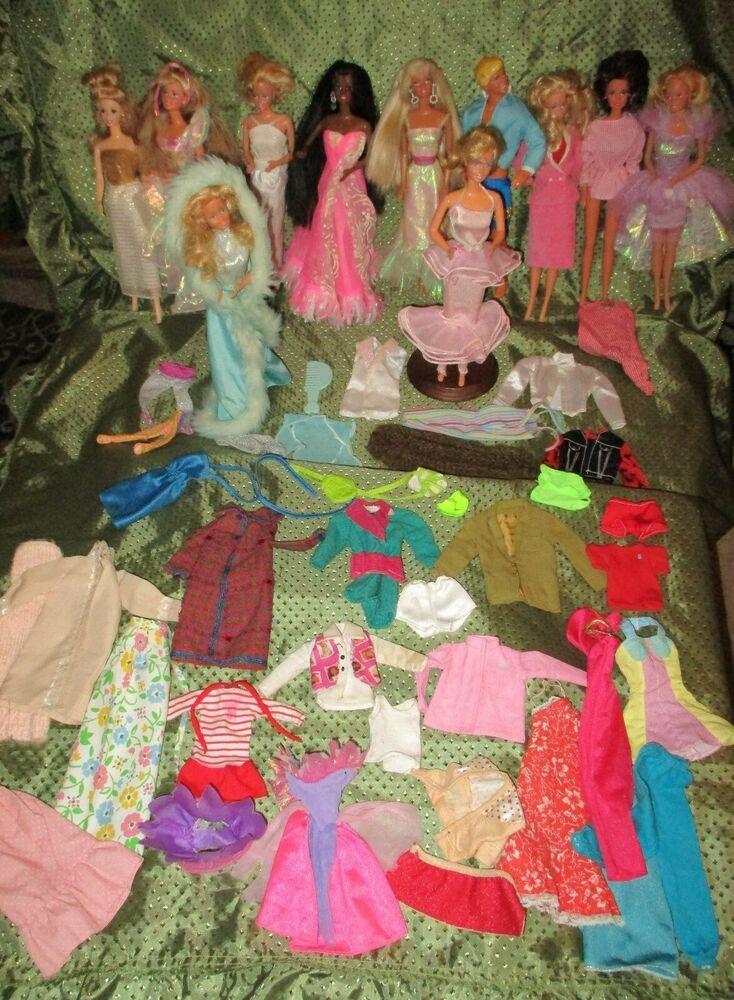 Vintage Barbie Doll Lot Superstar Era 80 S 90 S Dress Clothes