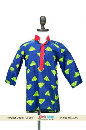Designer Boys Blue Cotton Kurta With Superman Design, Kids Indian Traditional Dress