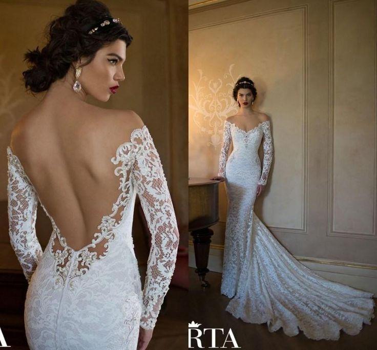 Discount Simple Elegant Open Back Long Sleeve Wedding: Discount Berta 2015 Mermaid