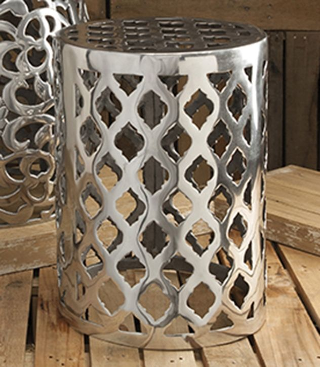 Beautiful The Modern Bold Pattern Featured On The Nichole Aluminum Garden Stool Adds  A Contemporary Shine To