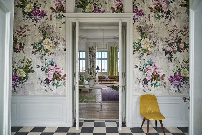 Designers Guild 'Aubriet' wallpaper in the amethyst colourway used in a project.