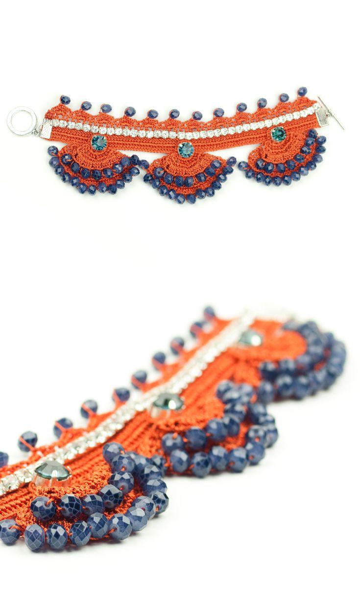 Handmade Crochet Crystal Beadwork Luxury Statement Bracelet