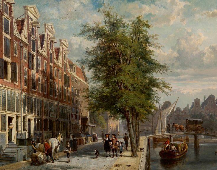 Cornelis Springer – Gezicht op den Leidschegracht naar de Heerengracht omstreeks het jaar 1670