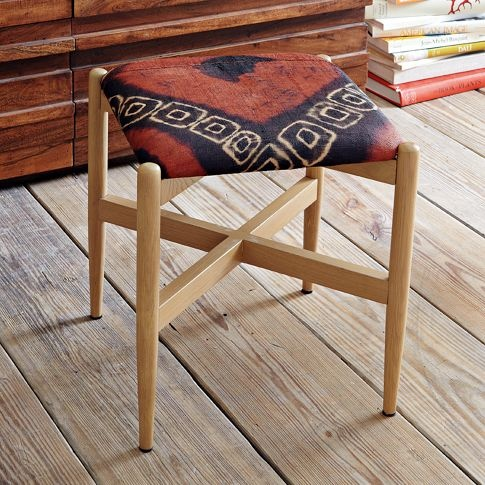 Kuba Stool - Batik | west elm  16sq x 18h (for under desk/vanity)