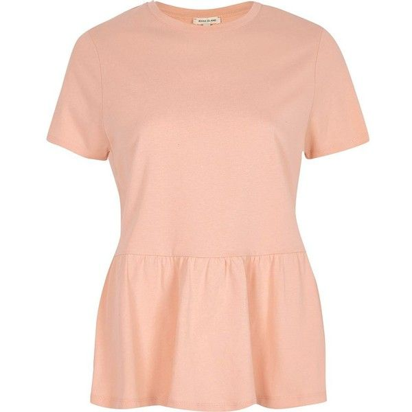 River Island Coral pink peplum hem T-shirt ($32) ❤ liked on Polyvore featuring tops, t-shirts, coral, plain t-shirts / tanks, t shirts / tanks, women, tall tees, peplum tee, pink tee and red peplum top