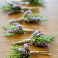 The boutonnieres will be fresh lavender along with sprigs of rosemary, tied in raffia.