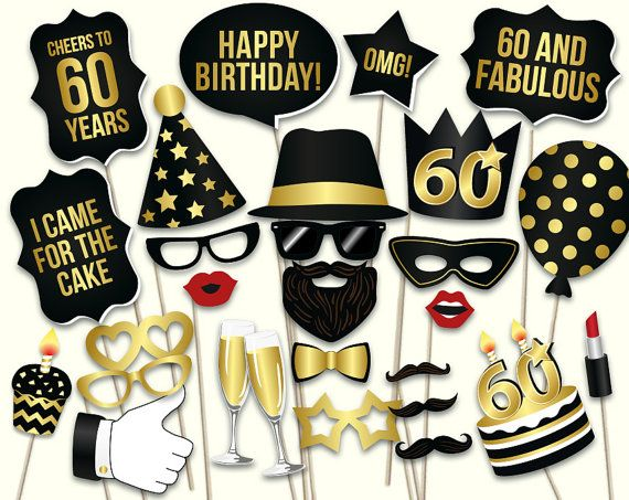 60th birthday photo booth props: printable PDF. Black and gold Sixtieth birthday…