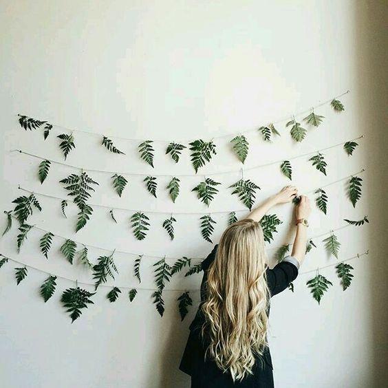 Leaf garlands on wall