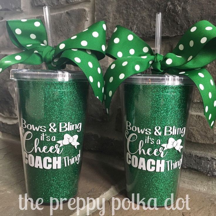 Bows & Bling It's A Cheer Coach Thing // Glitter 16 oz Tumbler Cup by ThePreppyPolkaDot on Etsy https://www.etsy.com/listing/277552554/bows-bling-its-a-cheer-coach-thing