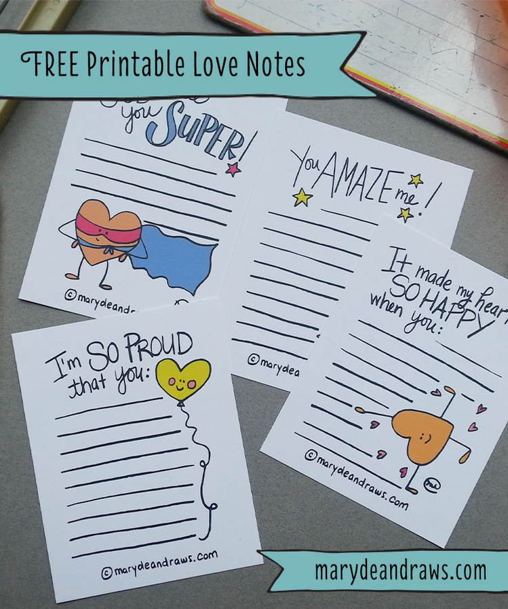 FREE PRINTABLE Hand-drawn Love & Encouragement Notes from Marydean Draws. School lunch box notes free printable for kids.
