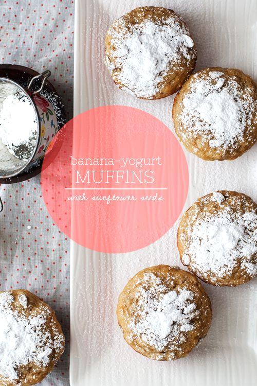 Banana-Yogurt Muffins // Hungry Girl por Vida (Recette testé = bonne texture, mais peut-être ajouter des petits fruits ou pépites chocolat)