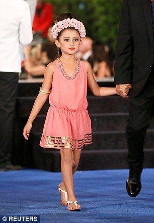 Alicia Machado's daughter Dinorah Valentina Hernandez models a creation by costume designe...