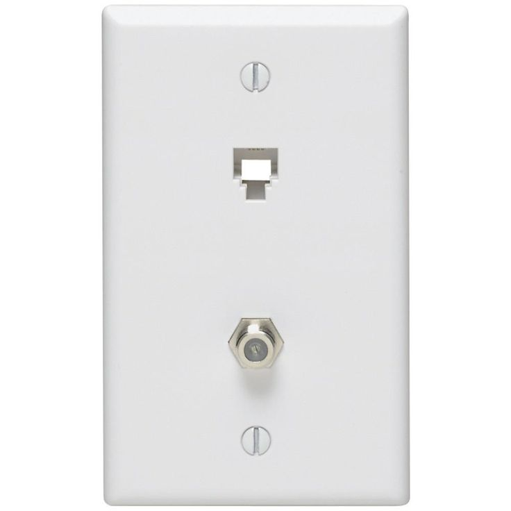 LEVITON 40259-W Telephone 6P4C Plates & F-Connector Wall Jack (White)
