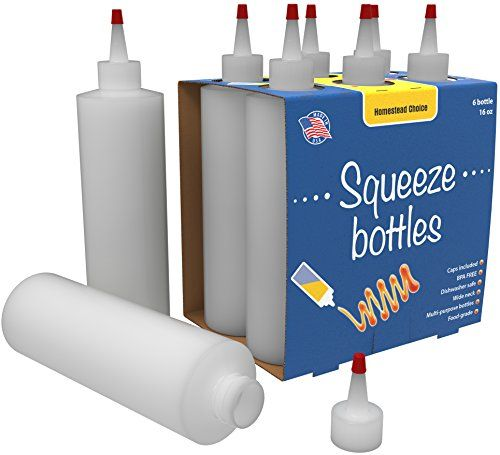 Bonus 7-pack Plastic Squeeze Condiment Bottles 16-Ounce With Red Cap Set of 7 16-oz (Perfect For Syrup, Sauce, Ketchup, BBQ, Condiments, Dressing, Arts and Craft, Workshop, Storage, and More) - This bonus 7-pack of HDPE plastic squeeze condiment and dispenser bottles comes ready to go, with better lids that are less likely to leak than other products with less-suitable lids. These are great for use in the kitchen for dispensing mayonnaise, ketchup, mustard, BBQ sauce, olive oil, vinegar...