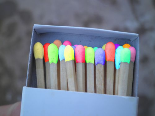 Neon matches that make the flame turn the color when you light